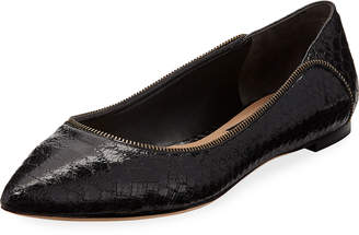 Donna Karan Netta Snake Embossed Leather Flat