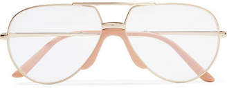 Gucci Aviator-style Gold-tone And Acetate Optical Glasses
