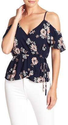 Cupcakes And Cashmere Adia Cold Shoulder Tie Waist Floral Blouse