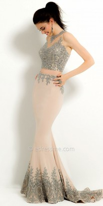 Camille La Vie Two Piece Jersey Applique Prom Dress $310 thestylecure.com