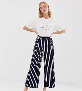 Monki stripe cropped pants co-ord in navy