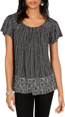 Style&Co. Style & Co. Petite Printed Pleat-Neck Top