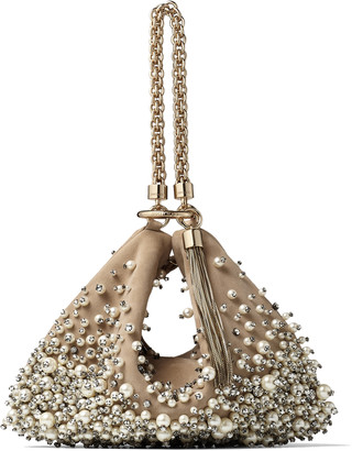 Jimmy Choo CALLIE Nude Suede Clutch Bag with Degrade Pearl Embroidery