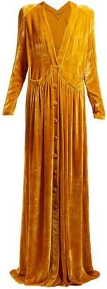 Button-front velvet gown
