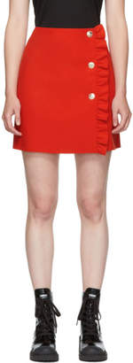 MSGM Red Buttoned Miniskirt