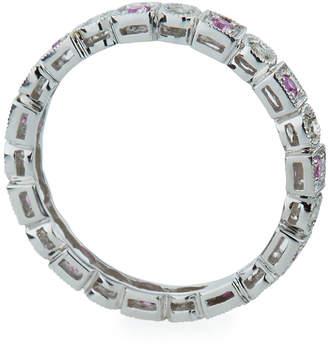 Sydney Evan 14k White Gold Square Pink Sapphires & Circle Diamonds Band Ring, Size 7