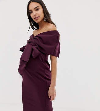 Asos DESIGN Maternity off shoulder wrap midi dress with tie detail