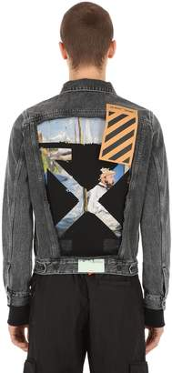 Off-White Off White Slim Fit Printed Cotton Denim Jacket