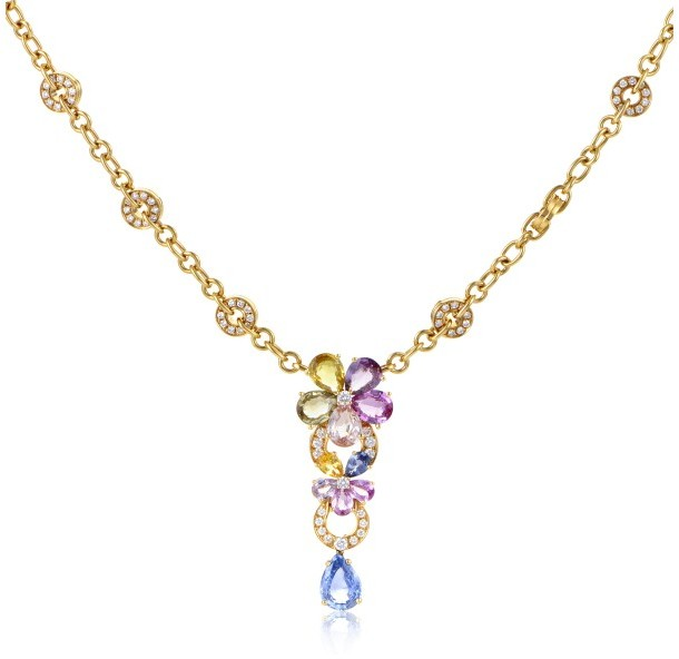Bvlgari Bulgari 18K Yellow Gold Diamond and Sapphire Flower Pendant Necklace