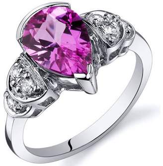 Oravo 2.25 Carat T.G.W. Created Pink Sapphire Rhodium-Plated Sterling Silver Engagement Ring