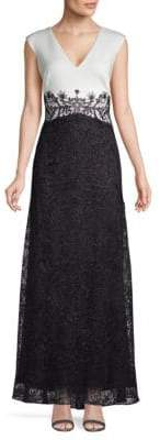 Tadashi Shoji Sleeveless Lace A-Line Gown