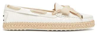 Tod's Gommini Leather Espadrille Loafers - Womens - White