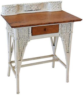 One Kings Lane Vintage Antique Painted Wicker/Oak Writing Desk
