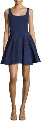 Monique Lhuillier Sleeveless Silk Faille Fit & Flare Dress, Navy