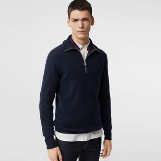 Burberry Rib Knit Cashmere Half-zip Sweater, Blue