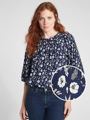 Gap Wide-Sleeve Floral Print Blouse