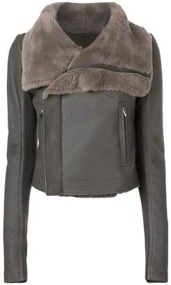 Rick Owens fur collar leather jacket