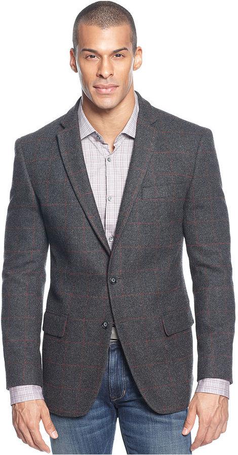 Sean John Jacket, Plaid Wool Blazer with Elbow Patches