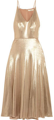 Halston Heritage - Metallic Stretch-jersey Midi Dress - Gold $325 thestylecure.com