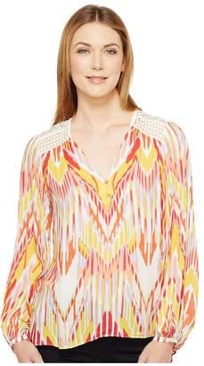 Hale Bob Lens Flair Lightweight Rayon Dot Woven Long Sleeve Top Women's Clothing