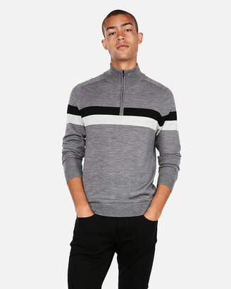 Express Merino Wool-Blend Thermal-Regulating Mock Neck Stripe Sweater