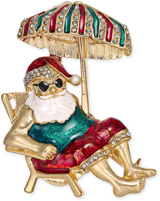 Charter Club Holiday Lane Gold-Tone Crystal & Epoxy Santa on Vacation Pin, Created for Macy's
