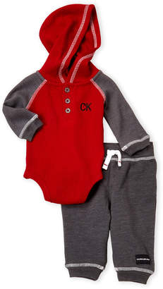 Calvin Klein Jeans Newborn Boys) Two-Piece Thermal Bodysuit & Joggers Set