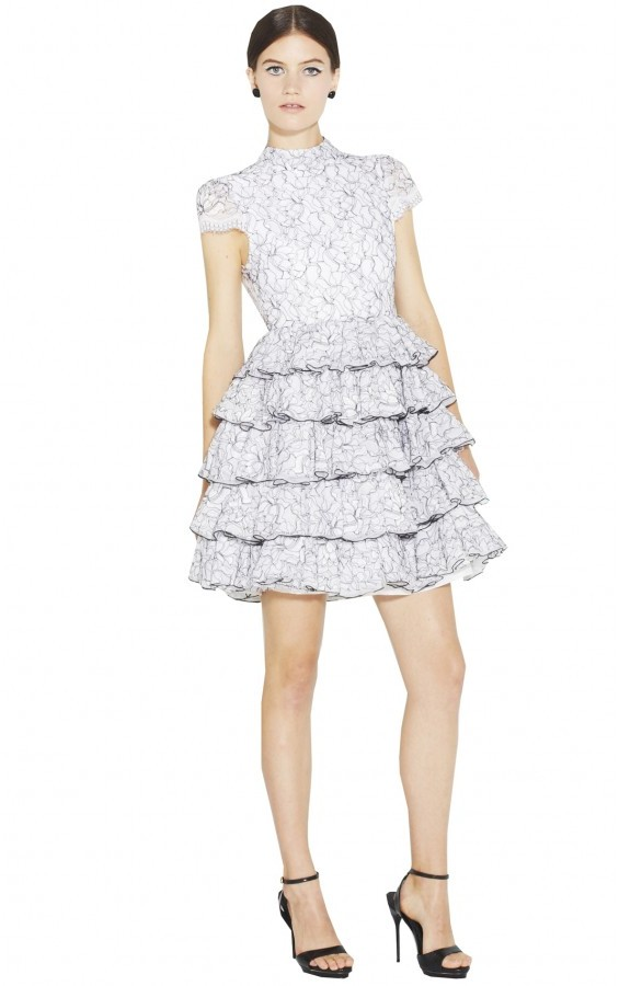 Alice + Olivia Effie High Neck Shirt Ruffled Tiered
