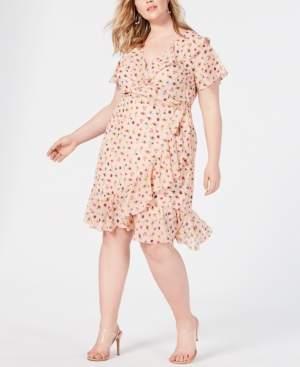 Betsey Johnson Trendy Plus Size Bug-Print Ruffled Wrap Dress