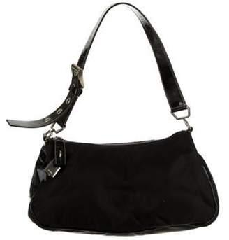 Prada Patent Leather-Trimmed Nylon Shoulder Bag Black Patent Leather-Trimmed Nylon Shoulder Bag