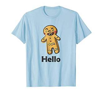 Evil Gingerbread Man Hello Graphic Text T Shirt Tee