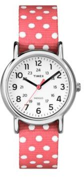Timex Ladies Weekender Silvertone and Fabric Strap Watch $55 thestylecure.com