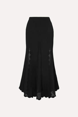 Alexander McQueen Ribbed-knit And Embroidered Silk-chiffon Midi Skirt - Black