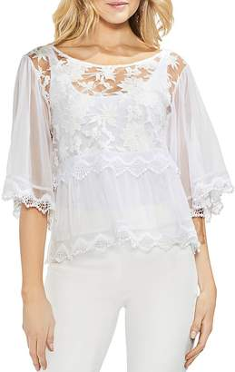 Vince Camuto Floral Mesh Top
