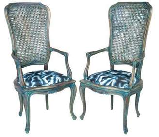 Tie-Dye Cane Armchairs