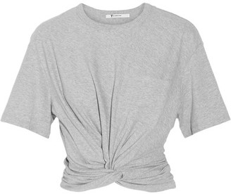 T by Alexander Wang - Cropped Twist-front Cotton-jersey T-shirt - Stone $160 thestylecure.com
