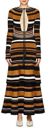 Proenza Schouler Women's Multi-Striped Keyhole Dress - Black, Bronze