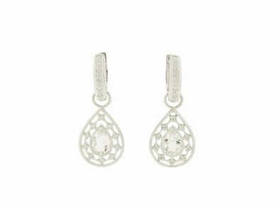 Zasha Small Pear Earring Charms in White Gold with Diamonds