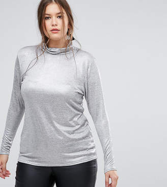 Simply Be Metallic Roll Neck Top