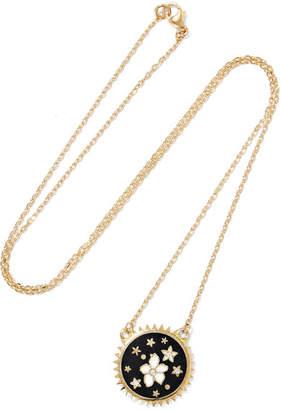 Foundrae - Dark Blossoms 18-karat Gold, Diamond And Enamel Necklace