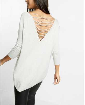 Express marled lace-up back circle hem sweater $59.90 thestylecure.com