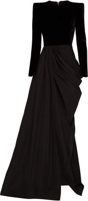 Alex Perry Chandler Draped Taffeta Velvet Gown