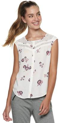 Candies Juniors' Candie's Print Lace Inset Top
