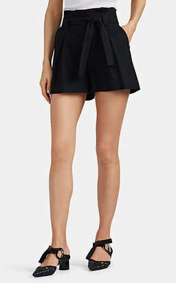 L'Agence Women's Alex Linen-Cotton Belted Shorts - Black
