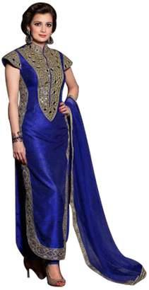 SHRI BALAJI SILK & COTTON SAREE EMPORIUM Raksha Bandhan Dia Mirza Silk Straight Shalwar Kameez Suit Wedding Women Punjabi