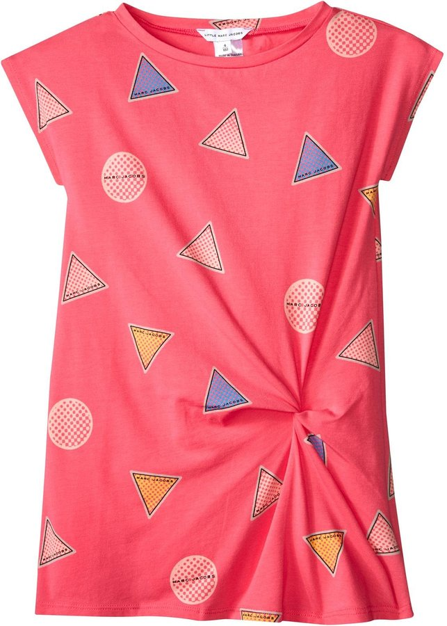 Little Marc Jacobs Little Marc Jacobs Allover Print Dress With Knot Detail - Rose/Bleu - 8A