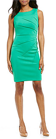 Calvin KleinCalvin Klein Sideburst Sleeveless Scuba Sheath Dress