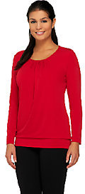 As Is Susan Graver Liquid Knit Long Sleeve Top with Banded Bottom