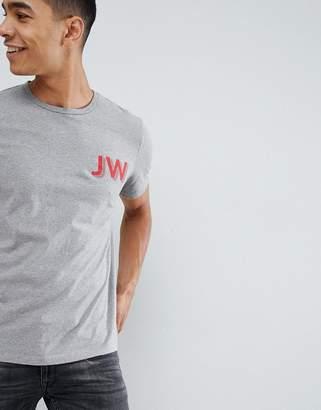 Jack Wills Archibold jw logo t-shirt in gray marl