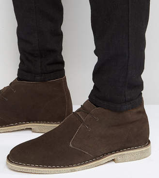 Asos Design Wide Fit Desert Boots in Brown Suede